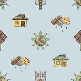 Vector Hand gezeichnetes nahtloses Muster, dekoratives stilisiertes kindisches Haus, Baum, Sonne, Wolke, Regen Gekritzelart, graf Stockbild