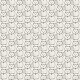 Vector Hand gezeichnetes nahtloses Muster mit japanisches maneki neko glücklichen Katzenkonturen Lizenzfreies Stockbild