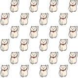 Vector Hand gezeichnetes nahtloses Muster mit weißes maneki neko glücklichen Katzen auf dem weißen Hintergrund Lizenzfreies Stockbild