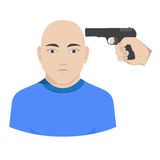 Vector hand with gun aiming in the head Stock Photo