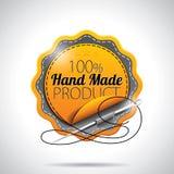 Vector Hand - het gemaakte Product etiketteert Illustratie met glanzend gestileerd ontwerp op een duidelijke achtergrond. EPS 10. Stock Foto's