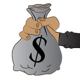 Vector - Hand holding bag of Money Royalty Free Stock Photo