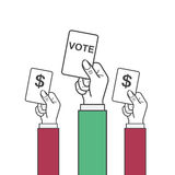 Vector hand holding vote label. Government corruption, outlaw concept Royalty Free Stock Photo