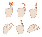 Vector hand icons. Touchscreen interface illustration Stock Photos