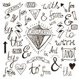 Vector hand-lettered, hand drawn ampersands and Royalty Free Stock Images