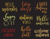 Hello autumn set Royalty Free Stock Photos