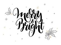 Vector hand lettering christmas greetings text - merry and bright - with holly leaves and snowflakes vector illustration