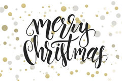 Vector hand lettering christmas greetings text -merry christmas - with ellipses in gold color.  Royalty Free Stock Photography