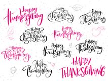 Vector hand lettering greeting happy thanksgiving day text set, written in various styles with doodle leaves and dots.  vector illustration