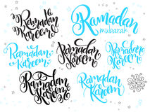Vector hand lettering greetings ramadan kareem text set, written in various styles with doodle flowers and stars.