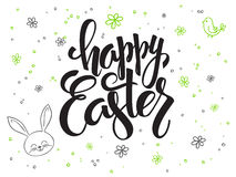 Vector hand lettering greetings text - happy easter with doodle flowers, rabbit and bubbles