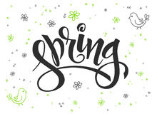 Vector hand lettering greetings text - hello spring with doodle flowers, bird and bubbles Stock Image