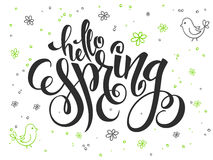 Vector hand lettering greetings text - hello spring with doodle flowers, bird and bubbles Stock Photography
