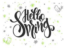 Vector hand lettering greetings text - hello spring with doodle flowers, bird and bubbles Royalty Free Stock Photo