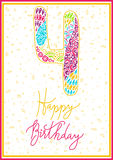 Vector hand lettering. Happy birthday greeting card with calligraphy. Design black and white overlay Stock Image