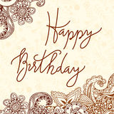 Vector hand lettering. Happy birthday greeting card with calligraphy. Design black and white overlay Stock Photos