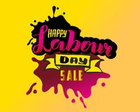 Vector hand lettering Happy labor day SALE - May Day Celebration on May 1st. Vector illustration for Greetings, Banner, Background vector illustration