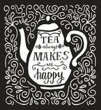 Vector hand lettering illustration Tea time Royalty Free Stock Photo