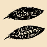 Vector hand lettering inspirational typography poster Hello Summer Time and Freedom in feather shapes. Royalty Free Stock Images