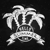 Vector hand lettering inspirational typography poster. Hello to summertime on the chalkboard Stock Photos