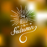 Vector hand lettering inspirational typography poster Say Hello to autumn with rays. Vector hand lettering inspirational typography poster Say Hello to autumn Stock Images