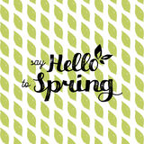 Vector hand lettering inspirational typography poster. Say hello to spring on leaf pattern background. Royalty Free Stock Images