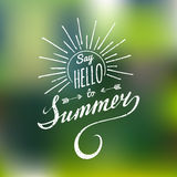 Vector hand lettering inspirational typography poster Say hello to summer. Vector hand lettering inspirational typography poster Say hello to summer Royalty Free Stock Images