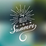Vector hand lettering inspirational typography poster Say hello to summer. Vector hand lettering inspirational typography poster Say hello to summer Stock Photo