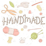 Vector hand lettering label - handmade - with tailoring and knitting tools. Design for poster, t-shirt or mug Stock Photo