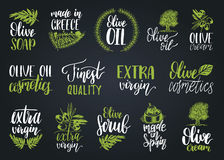Vector hand lettering olive production signs.Sketched extra virgin oil illustrations set for farm,cosmetics produce etc. Vector hand lettering olive production royalty free illustration