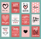 Vector hand lettering phrases Fall In Love etc.on labels or tags. February 14 calligraphy set.Valentines day typography. Vector hand lettering phrases You Are Stock Photo