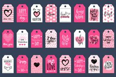 Vector hand lettering phrases Fall In Love etc.on labels or tags. February 14 calligraphy set.Valentines day typography. Vector hand lettering phrases You Are Royalty Free Stock Photos