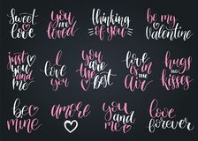 Vector hand lettering phrases Take My Heart, Hugs And Kisses etc. February 14 calligraphy set. Valentines day typography.  Royalty Free Stock Images