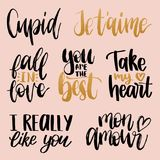 Vector hand lettering phrases Take My Heart, Hugs And Kisses etc. February 14 calligraphy set. Valentines day typography.  Stock Image