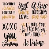 Vector hand lettering phrases Take My Heart, Hugs And Kisses etc. February 14 calligraphy set. Valentines day typography.  Stock Photography