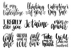 Vector hand lettering phrases Take My Heart, Hugs And Kisses etc. February 14 calligraphy set. Valentines day typography.  Royalty Free Stock Photo