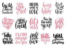 Vector hand lettering phrases Take My Heart, Hugs And Kisses etc. February 14 calligraphy set. Valentines day typography.  Stock Photos