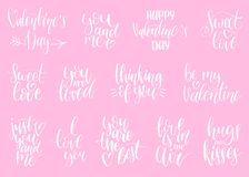 Vector hand lettering phrases Take My Heart, Hugs And Kisses etc. February 14 calligraphy set. Valentines day typography.  Stock Photo