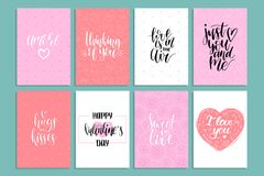 Vector handwritten phrases Love Is In The Year etc.on labels,tags.February 14 calligraphy set. Valentines day typography. Vector hand lettering phrases You Are Stock Photography