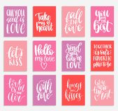 Vector handwritten phrases Love Is In The Year etc.on labels,tags.February 14 calligraphy set. Valentines day typography. Vector hand lettering phrases You Are Stock Photo