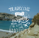 Vector hand lettering quote on the sea landscape for poster. Stock Photo