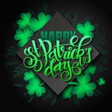 Vector hand lettering saint patricks day greetings card with rhombus, clover shapes and branches Stock Image