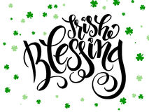 Vector hand lettering saint patricks day greetings text with clover shapes Royalty Free Stock Photo