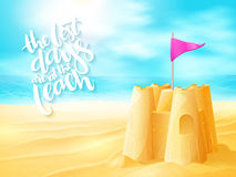 Vector hand lettering summer inspirational phrase with sand castle on sea beach background Stock Photos