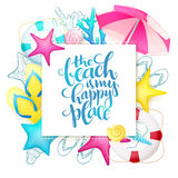 Vector hand lettering summer phrase on paper sheet surrounded with detailed flat and doodle seashells, sun umbrella Royalty Free Stock Photography