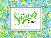Vector hand lettering summer sale banner on doddle seashells background Stock Photos