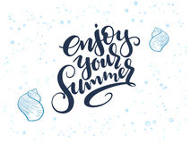 Vector hand lettering summer text about sea with doodle shells and bubbles Stock Photography