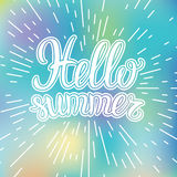 Vector hand lettering typography poster Hello summer on blurred background. Royalty Free Stock Photos