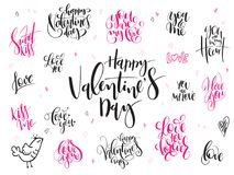 Vector hand lettering valentine`s day greetings labels set with heart shapes and birds.  Royalty Free Stock Image