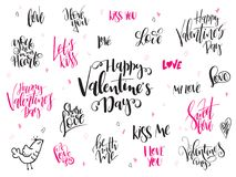 Vector hand lettering valentine`s day greetings labels set with heart shapes and birds.  Stock Photos